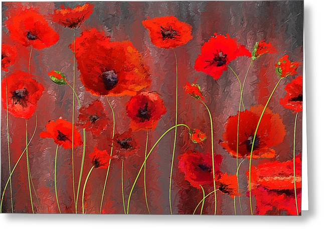 Fallen Memoirs- Red And Gray Art Greeting Card by Lourry Legarde