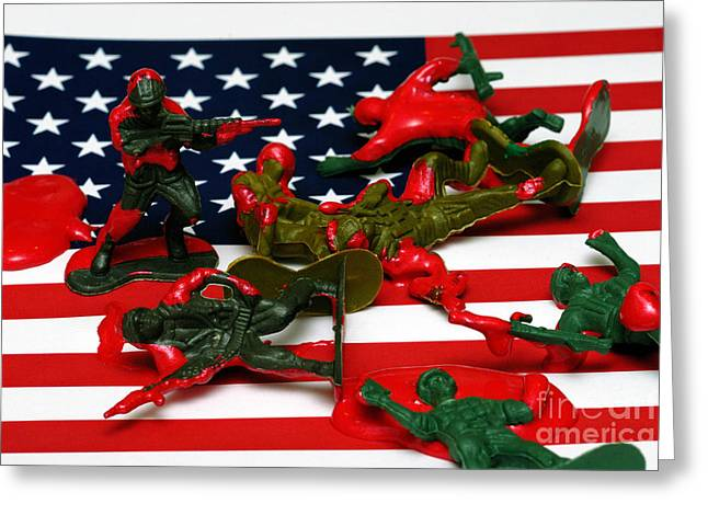 Fallen Toy Soliders On American Flag Greeting Card