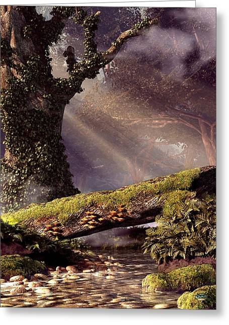 Fallen Tree Bridge Greeting Card by Daniel Eskridge