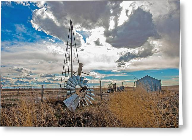 Greeting Card featuring the photograph Fallen Windmill by Shirley Heier
