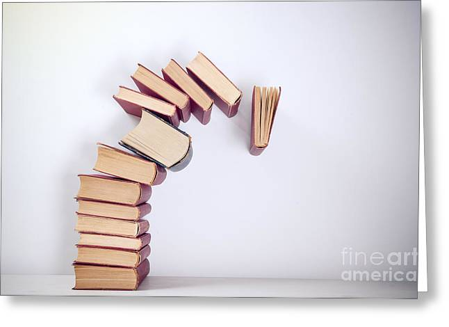 Falling Books Greeting Card by Viktor Pravdica