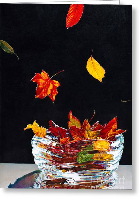 Falling Into Place Greeting Card by Arlene Steinberg