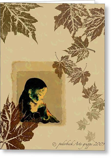 Falling Leaf Meditation Greeting Card by Pederbeck Arte Gruppe