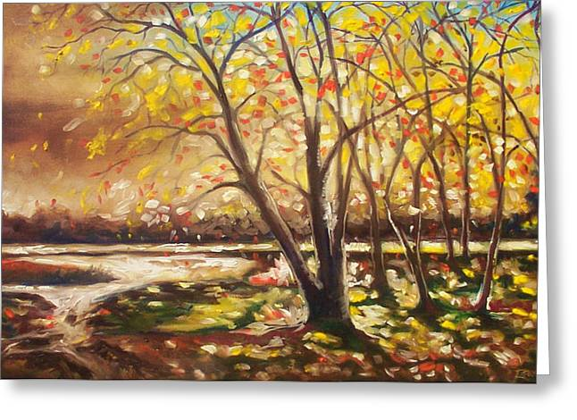 Greeting Card featuring the painting Falling Leaves by Emery Franklin