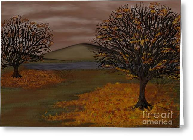 Falling Leaves Greeting Card by Lisa Estep