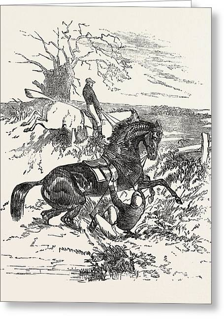 Falling Off A Horse During A Steeple Chase, Horse, Sport Greeting Card