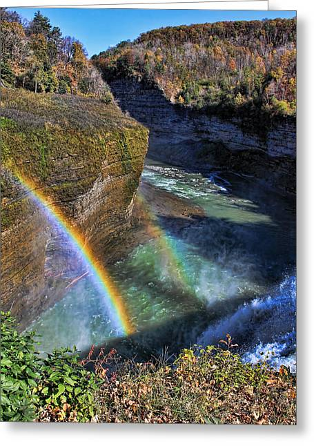 Greeting Card featuring the photograph Falling Rainbow by David Stine