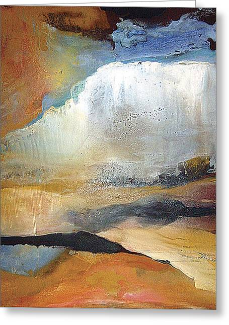 Falling Sky Ice Mountain Greeting Card by Carolyn Goodridge