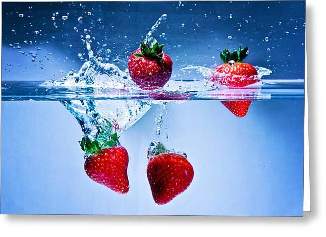 Falling Strawberries Greeting Card