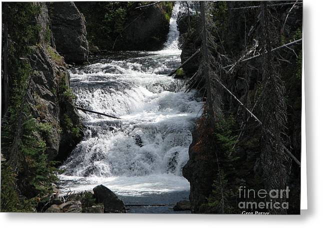 Falling Water Greeting Card by Greg Patzer