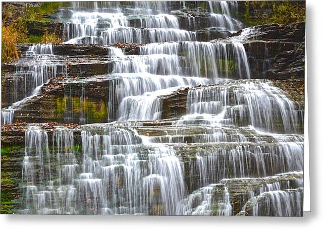 Falling Water Greeting Card by Frozen in Time Fine Art Photography