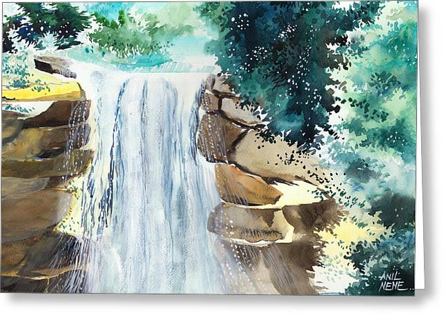 Falling Waters Greeting Card by Anil Nene