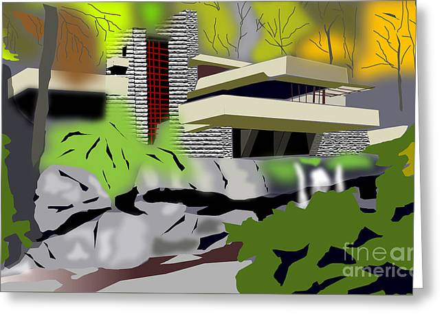 Fallingwater Greeting Card by Michael Chatman
