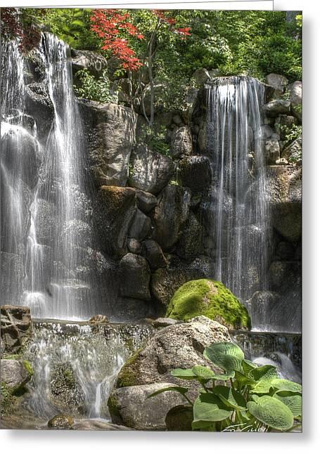 Falls At Anderson Japanese Gardens Greeting Card