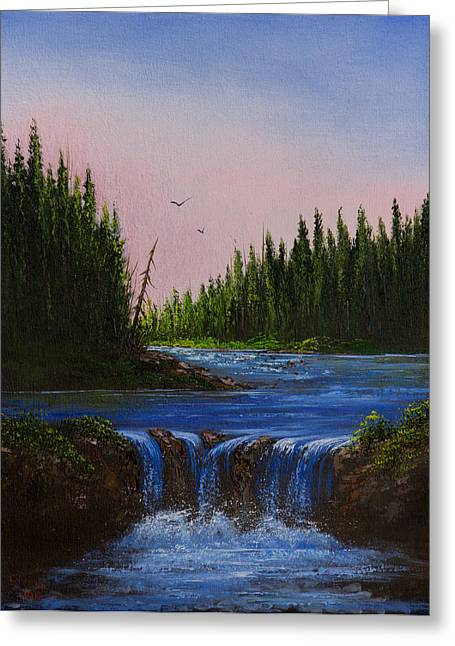 Falls At Rivers Bend Greeting Card by C Steele