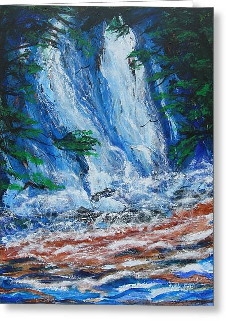 Waterfall In The Forest Greeting Card by Diane Pape