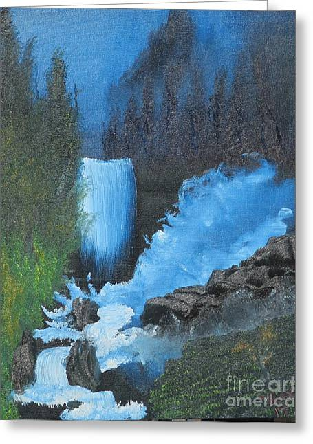 Falls On The Rocks Greeting Card by Dave Atkins