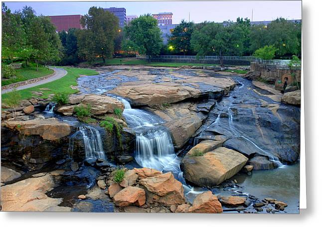 Falls Park Waterfall At Dawn In Downtown Greenville Sc Greeting Card