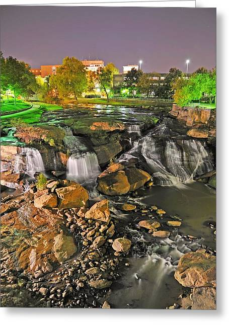 Falls Park Waterfall At Night In Downtown Greenville Sc Greeting Card