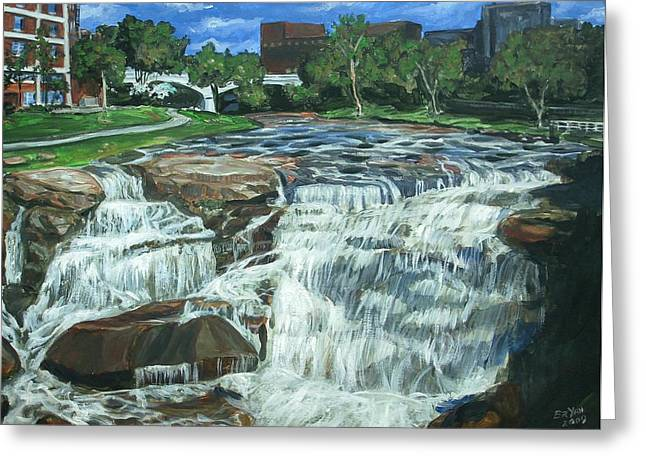 Greeting Card featuring the painting Falls River Park by Bryan Bustard