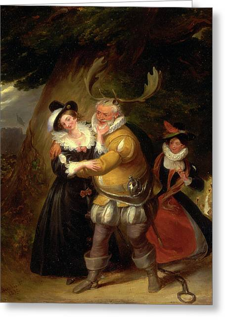 Falstaff At Hernes Oak, From The Merry Wives Of Windsor Greeting Card