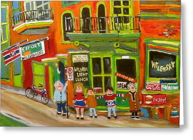 Family At Wilensky's Montreal Memories Greeting Card by Michael Litvack