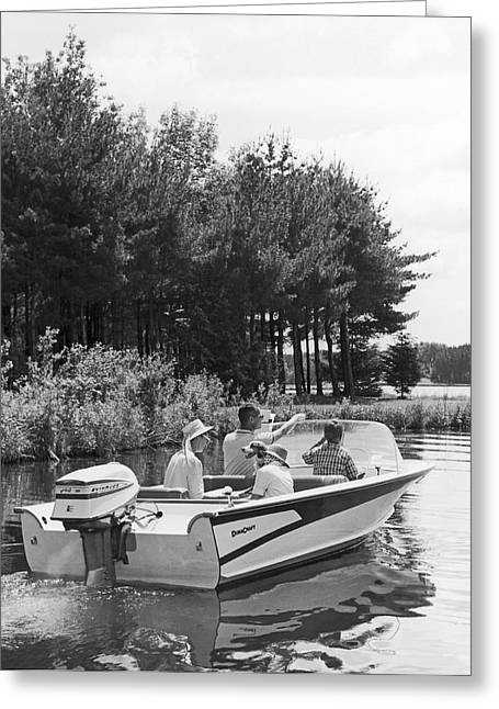 Family Boat Ride Greeting Card by Underwood Archives