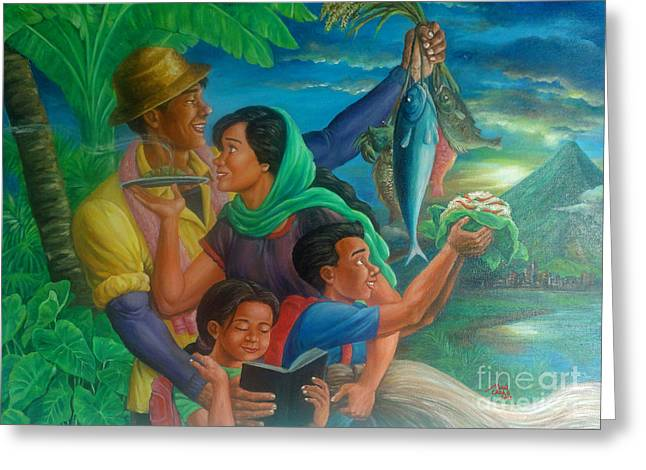 Family Bonding In Bicol Greeting Card by Manuel Cadag