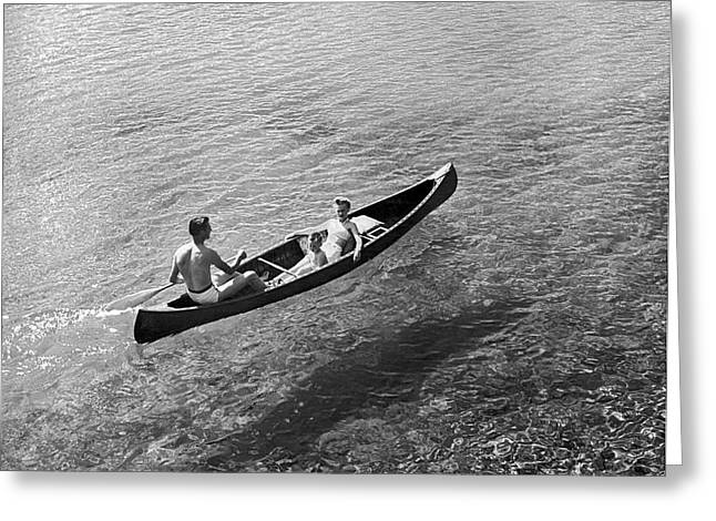 Family Canoe Excursion Greeting Card by Underwood Archives