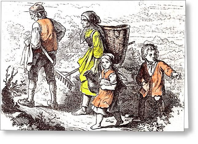 Family Coming Back From The Field 1855 Woman Man Mother Greeting Card by English School