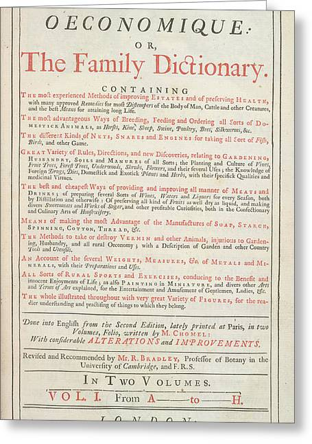 Family Dictionary Greeting Card by British Library