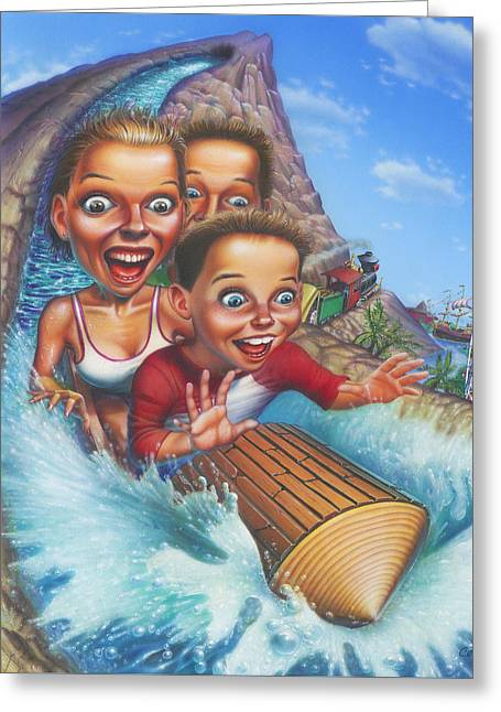 Family Enjoying Water Slide - Amusement Park Ride - Log Ride Greeting Card by Walt Curlee