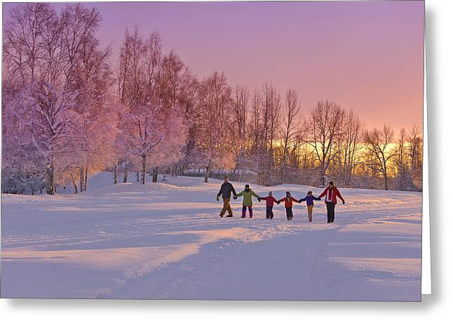 Family Group, Holding Hands, Walk Greeting Card by Kevin Smith