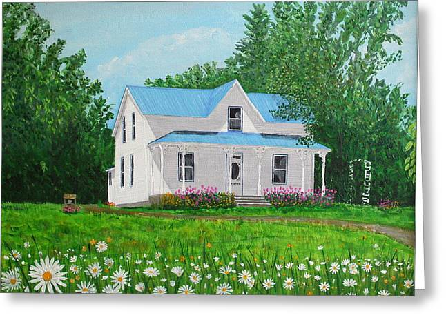 Kingston Paintings Greeting Cards - Family Home Greeting Card by Laura Moreland