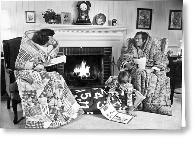 Family Huddled By Fireplace Greeting Card by Underwood Archives