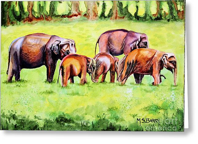 Family Of Elephants Greeting Card by Maria Barry