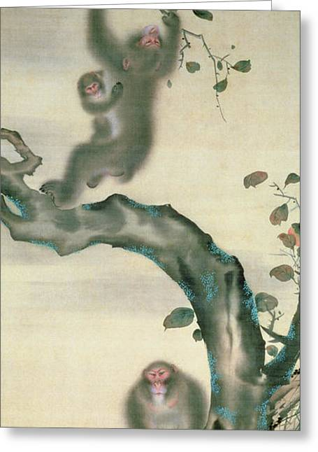 Family Of Monkeys In A Tree Greeting Card by Japanese School