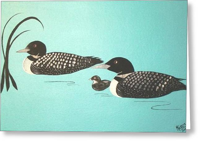 Family Of Three Greeting Card by Cindy Micklos
