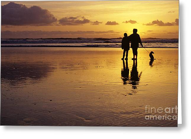 Family On Beach With Dog Sunset Greeting Card by Jim Corwin