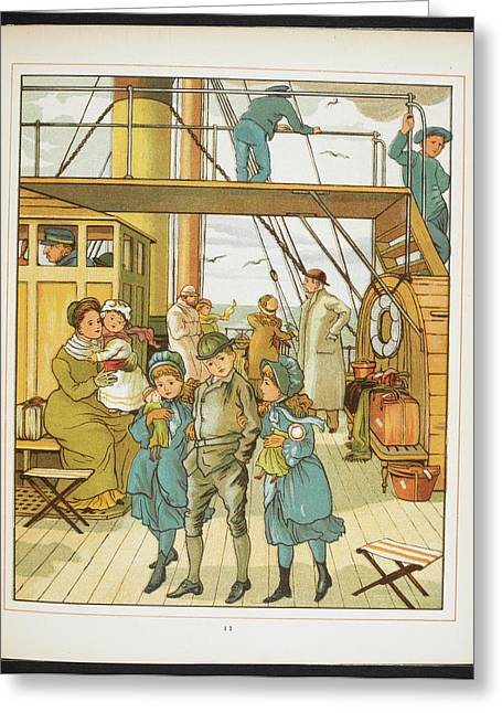 Family On Board A Passenger Ship Greeting Card