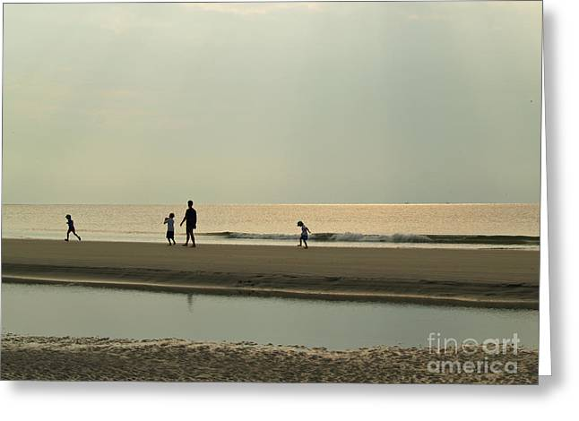 Family On Hunting Island Beach Greeting Card by Anna Lisa Yoder