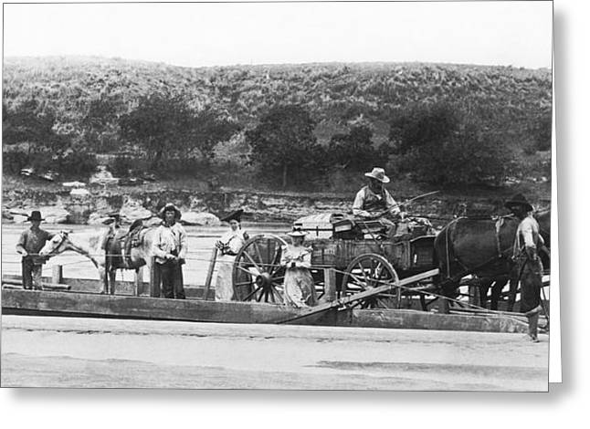 Family On Red River Ferry Greeting Card by Underwood Archives