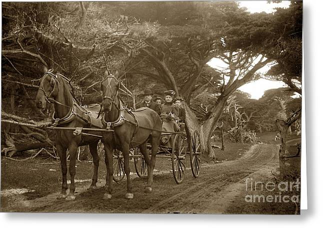 Family Out Carriage Ride On The 17 Mile Drive In Pebble Beach Circa 1895 Greeting Card