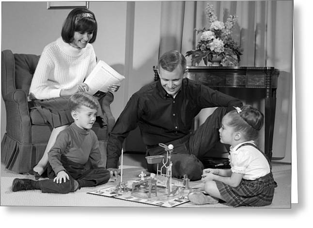 Family Playing Mousetrap, C.1960s Greeting Card by H. Armstrong Roberts/ClassicStock