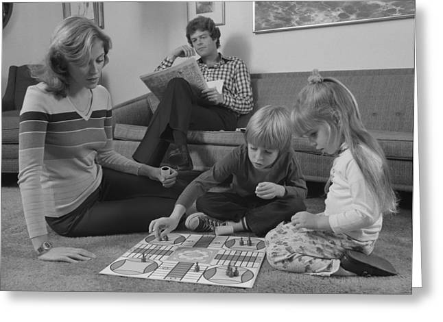 Family Playing Parcheesi, C.1970s Greeting Card by H. Armstrong Roberts/ClassicStock