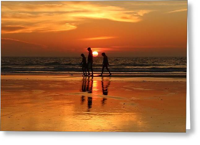 Family Reflections At Sunset - 1 Greeting Card