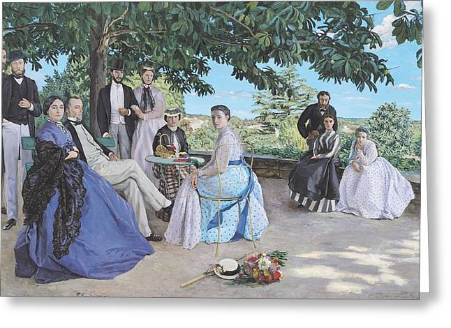 Family Reunion, 1867 Oil On Canvas Greeting Card by Jean Frederic Bazille