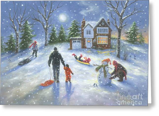 Family Snow Play Greeting Card by Vickie Wade