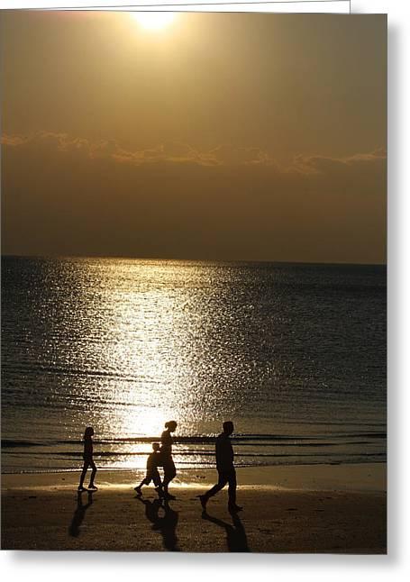 Family Sunset Jog Greeting Card