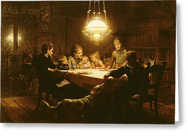 Family Supper In The Lamp Light, 19th Century Greeting Card